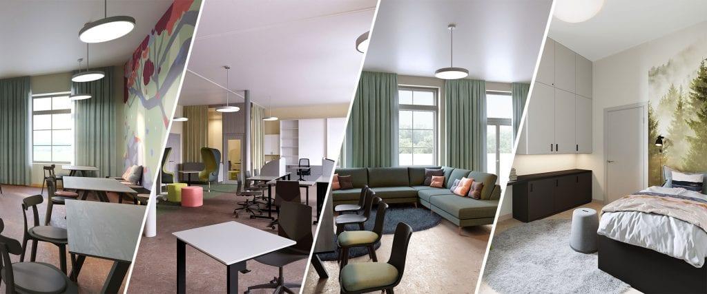 Neljän kuvan kollaasi koulukodin sisätiloista, pöytiä, tuoleja, sohva ja sänky.